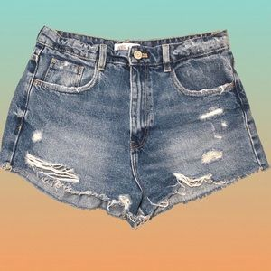 ZARA High Waisted Distressed Shorts